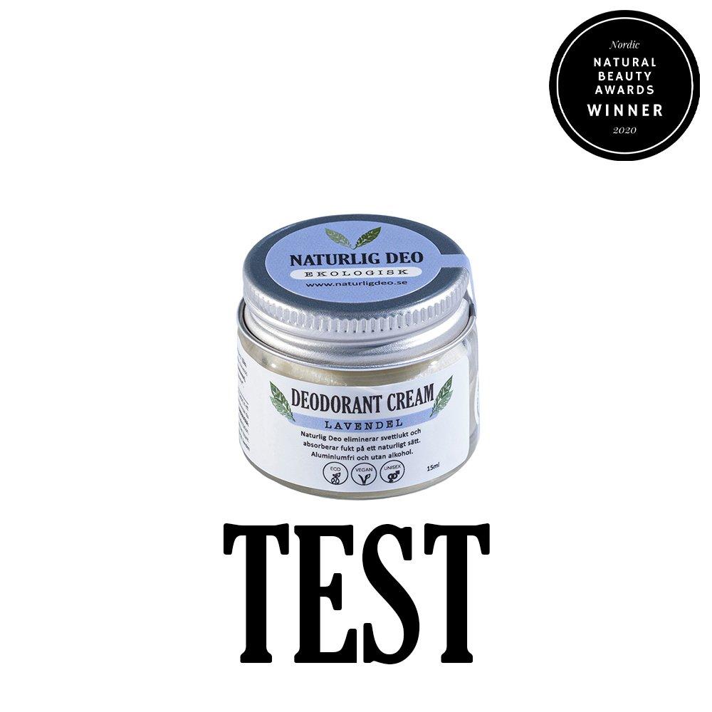 Naturlig Deo ekologisk deodorant cream Lavendel 15ml TEST winner nordic natural beauty awards