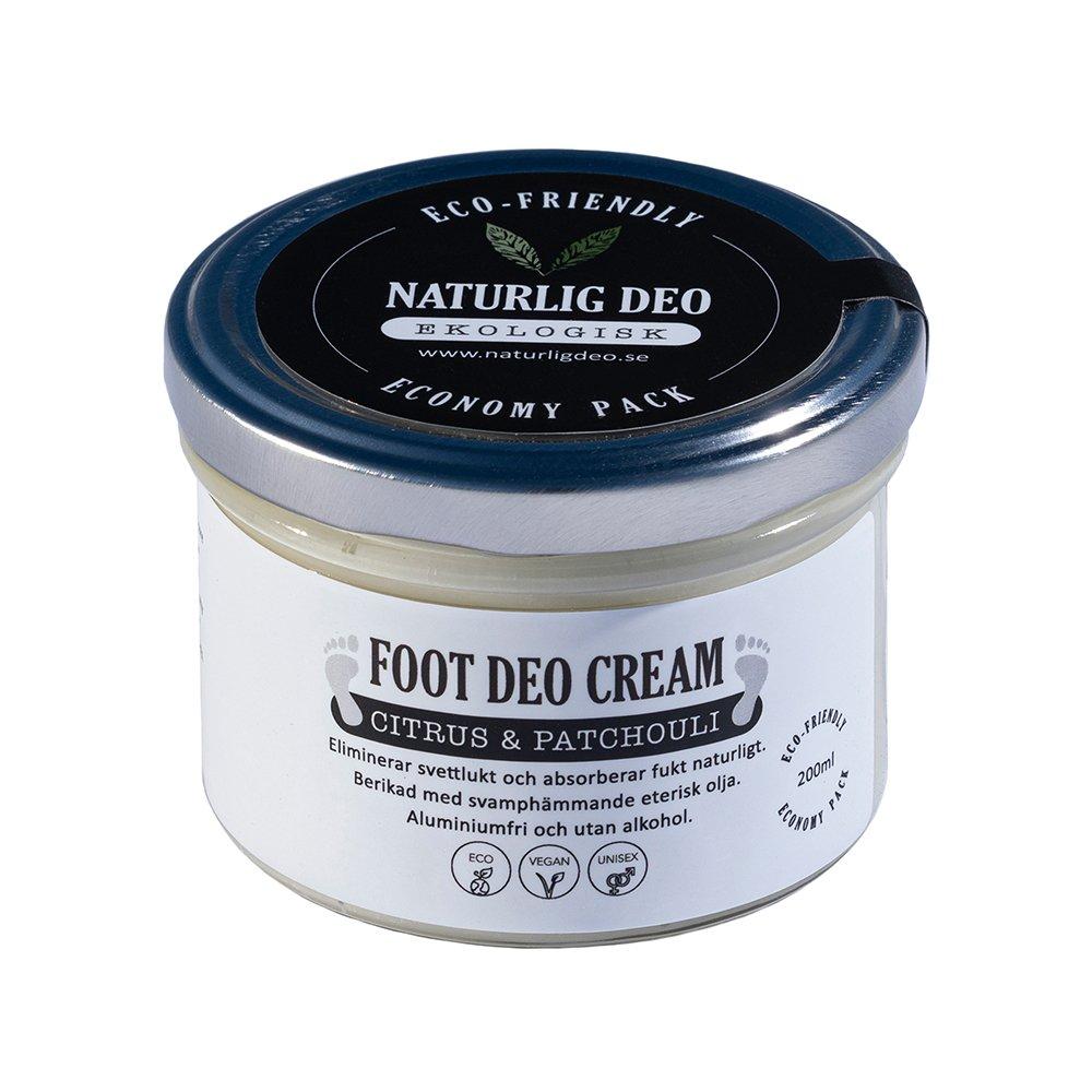Naturlig Deo ekologisk foot deodorant cream Citrus patchouli 200ml